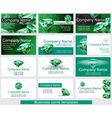 Set of business card template with emerald vector image