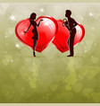 silhouette of a couple in love with two red hearts vector image