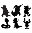 Silhouettes of dancing animals vector image vector image