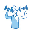 sport man dumbbell fitness gym practice workout vector image vector image