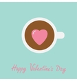 Tea cup with coffee Pink heart marshmallow Happy vector image vector image