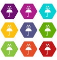 umbrella and rain drops icon set color hexahedron vector image vector image