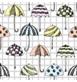 umbrella sketch pattern squared vector image