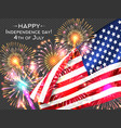 usa independence day poster with firework and flag vector image