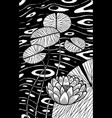 water lily - flower black and white vector image vector image