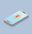 woman swimming on the mobile phone vector image vector image