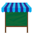 Wooden sign and blue awning with big green board vector image vector image