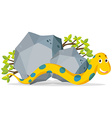 Yellow snake crawling by the stone vector image