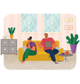 young couple sitting on couch quarreling at home vector image vector image