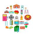 area icons set cartoon style vector image