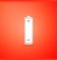 battery icon isolated on orange background vector image vector image