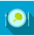 Blue plate with piece of broccoli flat icon vector image vector image