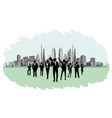 businesspeople on the background buildings vector image vector image