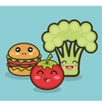 cartoon food fruit vegetable and fast graphic vector image