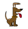 Cartoon of funny sitting dog with collar out vector image