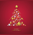 christmas tree background with shining stars and vector image
