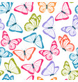 color flying butterflies seamless pattern vector image