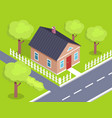 cottage two storey house side view with fence vector image vector image