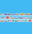 cute houses in winter season snowy town street vector image vector image