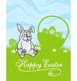 Cute little grey Easter Bunny vector image