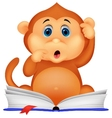 Cute monkey cartoon reading book vector image vector image