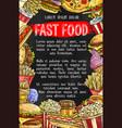 fast food menu banner design vector image vector image