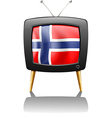 flag of norway inside the tv vector image