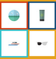 flat icon beach set of spectacles ocean boat and vector image vector image