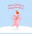funny christmas pig on winter background vector image
