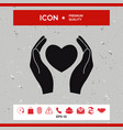 hands holding heart symbol vector image vector image