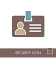 id badge line icon identification card vector image vector image