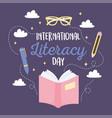 international literacy day open book pen pencil vector image vector image