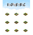 isometric way set of flat down single-lane and vector image