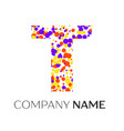 letter t logo with purple yellow red particles vector image