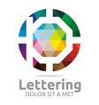 lettering p rainbow alphabet design vector image