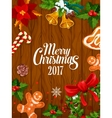 Merry Christmas 2017 poster greeting card vector image vector image