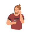 modern young man holding paper cup with hot coffee vector image vector image