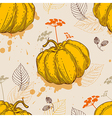 Orange pumpkin and leaves vector image
