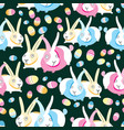 Pattern easter bunnies and eggs