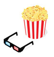 popcorn and 3d glasses to see 3d movie on a vector image