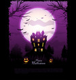 purple halloween haunted house background vector image vector image