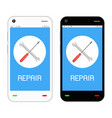 repair logo on smartphone screen vector image