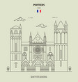 saint peter cathedral in poitiers vector image vector image