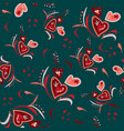 seamless pattern hand drawn with different hearts vector image vector image