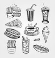 set of handrawn fastfood vector image