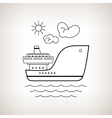 Silhouette cargo ship on a light background vector image vector image