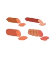 sliced sausages vector image