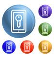 smartphone lock icons set vector image