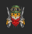 tiger warrior with guns vector image vector image