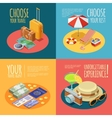 Travel Vintage 4 Isometric Icons Square vector image vector image